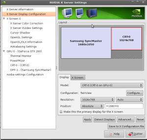 réglage résolution d'un ecran sous Ubuntu-linux avec les drivers Nvidia